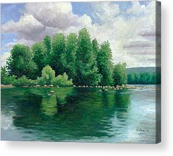 Trees Reflecting In Water Paintings Acrylic Prints