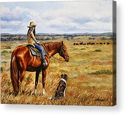 Cattle Dog Paintings Acrylic Prints