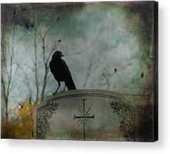 Crows On Tombstones Acrylic Prints