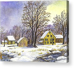New England Snow Scene Drawings Acrylic Prints