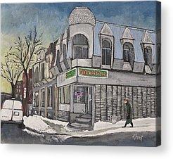 Montreal Buildings Paintings Acrylic Prints
