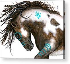 Native American War Horse Acrylic Prints