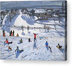 Winter Fun Paintings Acrylic Prints