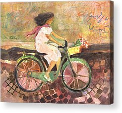 Flowers Bike Acrylic Prints