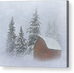 Red Barn In Winter Acrylic Prints