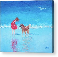 Children Playing On Beach Acrylic Prints