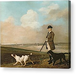 Dog In Landscape Paintings Acrylic Prints