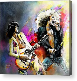 Rock Music Jimmy Page Acrylic Prints