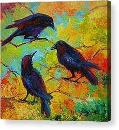 Crows Paintings Acrylic Prints