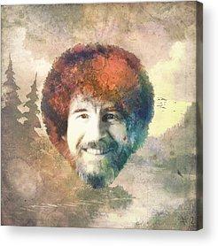 Bob Ross Digital Art Acrylic Prints