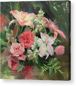 Carnations Paintings Acrylic Prints