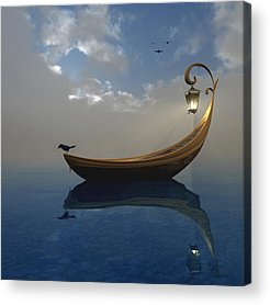 Boats Digital Art Acrylic Prints