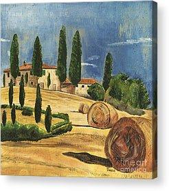 Tuscan Hills Paintings Acrylic Prints