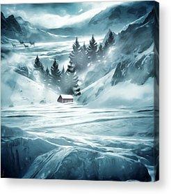 Red Barn In Winter Acrylic Prints