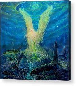 Angel Mermaids Ocean Acrylic Prints