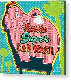 Car Wash Digital Art Acrylic Prints