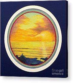 Sunset Seascape Drawings Acrylic Prints