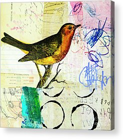 Song Birds Mixed Media Acrylic Prints