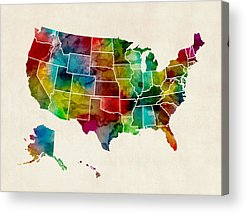 Us State Map Acrylic Prints