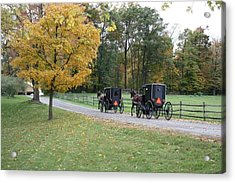 An Autumn Amish Ride Acrylic Print by R A W M