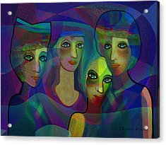 027 - Sisters  Blue   Acrylic Print by Irmgard Schoendorf Welch