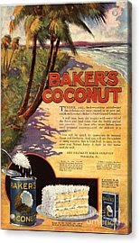 1910s Usa Bakers Coconuts Cakes Baking Acrylic Print by The Advertising Archives