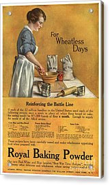 1918 1910s Usa Cooking Royal Baking Acrylic Print by The Advertising Archives