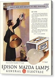 1920s Usa Edison Mazda Lamps General Acrylic Print by The Advertising Archives