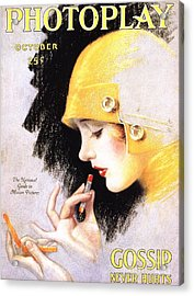 1920s Usa Photoplay Lipsticks Putting Acrylic Print by The Advertising Archives