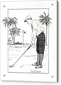 Acrylic Print featuring the drawing  1920's Vintage Golfer by Ira Shander