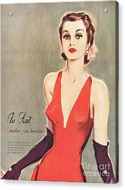 1940s Uk Au Fait Womens Dresses Gloves Acrylic Print by The Advertising Archives