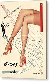 1940s Uk Wolsey Womens Hosiery Acrylic Print by The Advertising Archives
