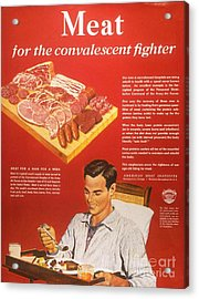 1940s Usa Convalescents Meat Eating Acrylic Print by The Advertising Archives