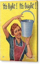 1950s Uk Housewife Housewives Buckets Acrylic Print by The Advertising Archives