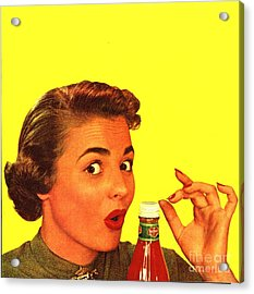 1950s Usa Catsup Tomato Sauce Lids Mrs Acrylic Print by The Advertising Archives