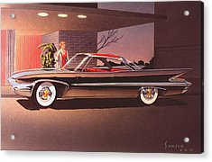 1960 Desoto Classic Styling Design Concept Rendering Sketch Acrylic Print by John Samsen