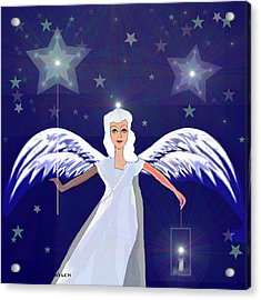 806 -  Christmas Angel  With  Lantern  Acrylic Print by Irmgard Schoendorf Welch