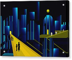 955 -  Moonlit City    Acrylic Print by Irmgard Schoendorf Welch