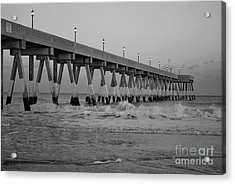 A Black And White Of Johnnie Mercers Pier At Daybreak Acrylic Print