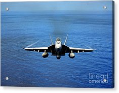 Acrylic Print featuring the photograph  A Fa-18 Hornet Demonstrates Air Power. by Paul Fearn