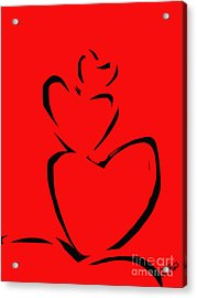 Acrylic Print featuring the painting  A Stack Of Hearts by Go Van Kampen
