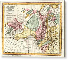 A Truly Fascinating 1772 Map Of The Northwestern Parts Of North America By Robert De Vaugondy And T Acrylic Print