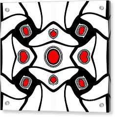 Abstract Geometric Black White Red Art No. 380. Acrylic Print by Drinka Mercep