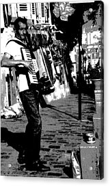 Accordioniste Acrylic Print by Jacqueline M Lewis