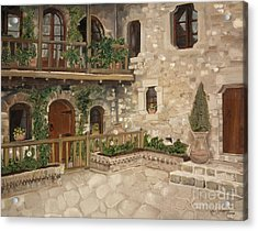 Acrylic Print featuring the painting Greek Courtyard - Agiou Stefanou Monastery -balcony by Jan Dappen