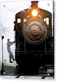 All Aboard The Number 40 At New Hope Pennsylvania Train Terminal Acrylic Print by Michael Hoard