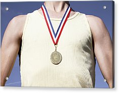 . Athlete With Gold Medal Acrylic Print by Tom and Steve