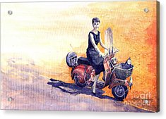 Audrey Hepburn And Vespa In Roma Holidey  Acrylic Print by Yuriy  Shevchuk