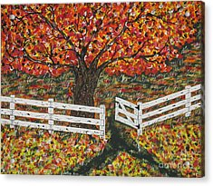 Autumn At The White Fence Farm Acrylic Print by Jeffrey Koss