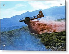 Acrylic Print featuring the photograph  B-17 Air Tanker Dropping Fire Retardant by Bill Gabbert